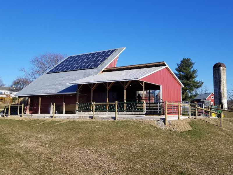 Solar & Cattle barn at 121 Ontelaunee Trial, Hamburg PA  using NIM 28 gauge Currogated Panels.